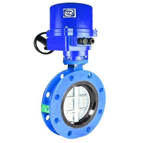 Double Flanged Butterfly Valve Electrical Actuator Operated